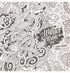 Cartoon cute doodles Winter season frame design vector