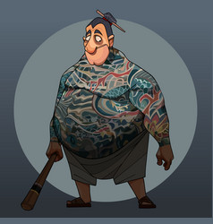 Cartoon fat man in japanese yakuza style stands vector