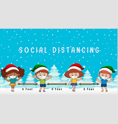 christmas celebrating with social distancing vector image
