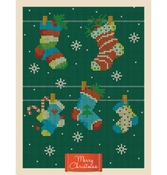 Christmas greeting card with knitted xmas socks vector