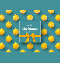 christmas holiday banner realistic 3d balls with vector image