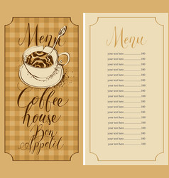 coffee house menu with broken cup and price list vector image