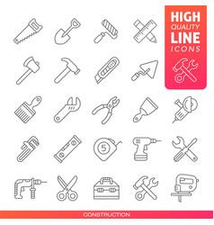 Construction tools high quality line icons vector