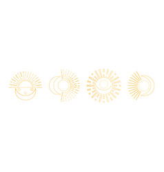 cute linear sun and moon art on white background vector image