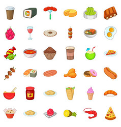 delicious dish icons set cartoon style vector image