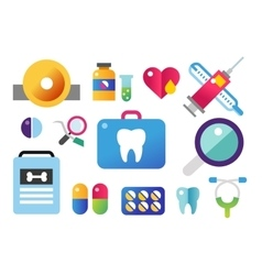 Dental icons set clinic logo vector