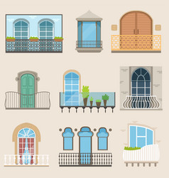 Detailed balcony set in different styles vector