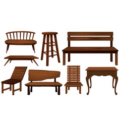 Different designs of chairs made of wood vector