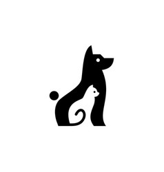 dog cat pet logo icon negative space style vector image