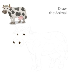 Draw animal cow educational game vector