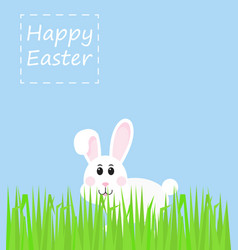 Easter rabbit rabbit looks with grass vector