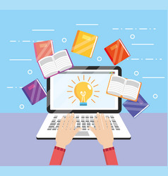 Elearning laptop technology with education book vector