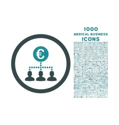 Euro Payment Clients Rounded Icon with 1000 Bonus vector
