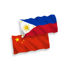Flags philippines and china on a white vector