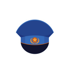 Flat icon officer military cap with cockade vector