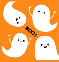 Flying ghost spirit set boo happy halloween vector