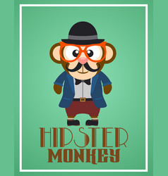 Funny hipster monkey vector