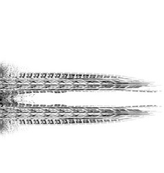Grayscale tire track grunge vector