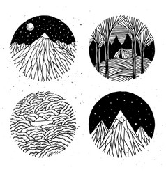 Hand drawn nature set vector