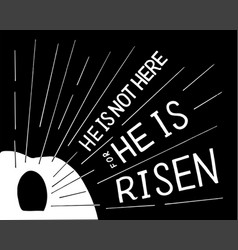 hand lettering not here he is risen with an open vector image