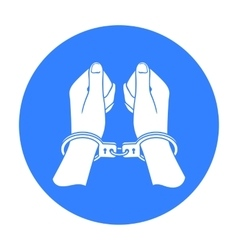 Hands in handcuffs icon in black style isolated on vector
