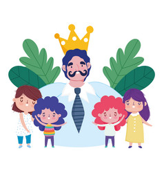 happy fathers day dad with mustache crown and vector image