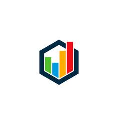 hexagon statistic logo icon design vector image