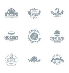 hockey logo set simple style vector image