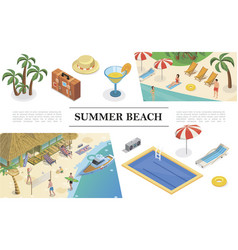 isometric summer vacation concept vector image