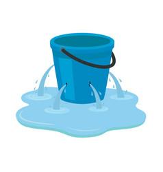 Leaking bucket isolated on vector
