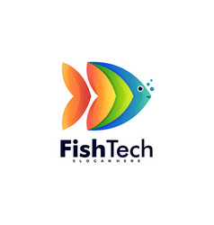logo fish tech gradient colorful style vector image