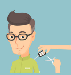 man cutting price tag off new shirt vector image