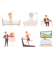 Man daily routine businessman work day morning vector