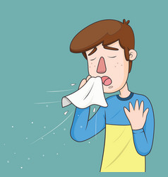 man with sneezing with spray and small drops vector image