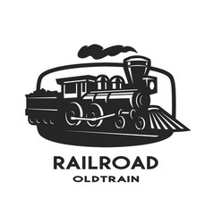 Old steam train emblem logo vector
