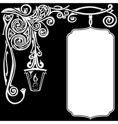 Ornament of white color on a black background with vector