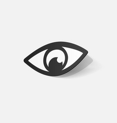 Paper clipped sticker eye vector