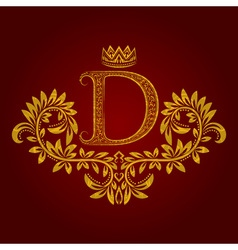 Patterned golden letter D monogram in vintage vector