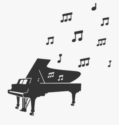 piano silhouette and notes vector image