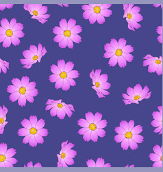 Pink cosmos flower on purple background vector