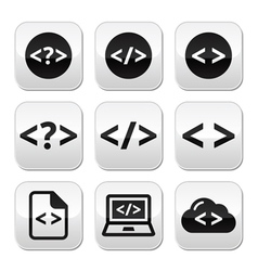 Programming code buttons set vector image