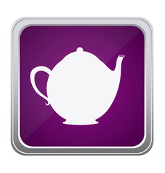 purple emblem teapot icon vector image