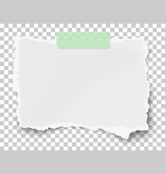 Ragged fragment white paper on sticky adhesive vector