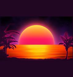 retro background futuristic landscape with palm vector image