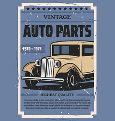 Retro cars auto spare parts store vector