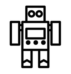 Robot toy line icon cyborg vector