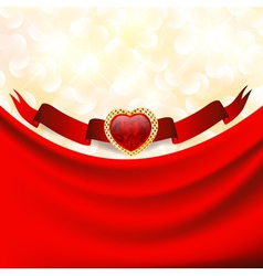 Ruby heart at banner with red drapery vector