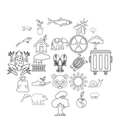sanctuary icons set outline style vector image