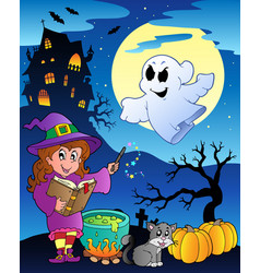 Scene with halloween theme 4 vector