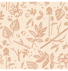 seamless pattern with leaves twigs berries vector image